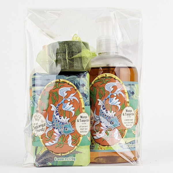 Dolce Mia Liquid & Bar Soap & Hand Sanitizer Gift Set | Mango Tangerine | Vintage Tropical
