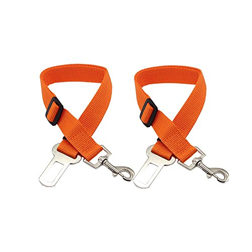 HUIJIN 2Pcs Adjustable Pet Dog Cat Car Seat Belt Secure Safety Leads Car Vehicle Seat Belt Harness,Made from Nylon Fabric (orange)