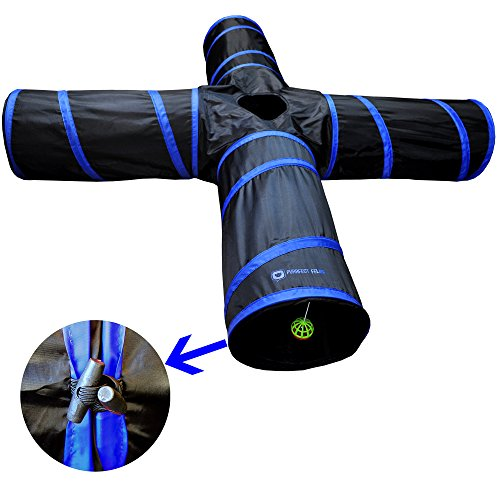 New Cat tunnel Design, Collapsible 4-way Cat Tunnel Toy with Crinkle (Large, Dark Blue)