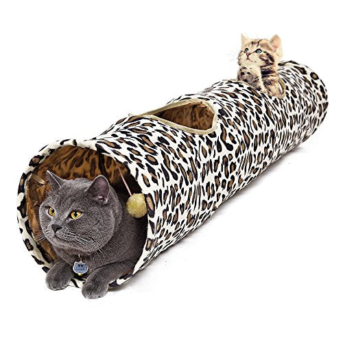 PAWZ Road Cat Tunnel Leopard Print Crinkly Cat Fun 2 Holes Long Tunnel Kitten Toys