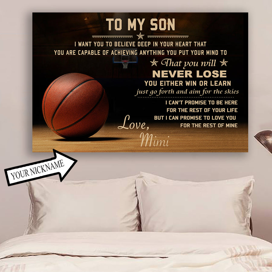 5009b477 (CT212) Basketball Poster - to my son - custom