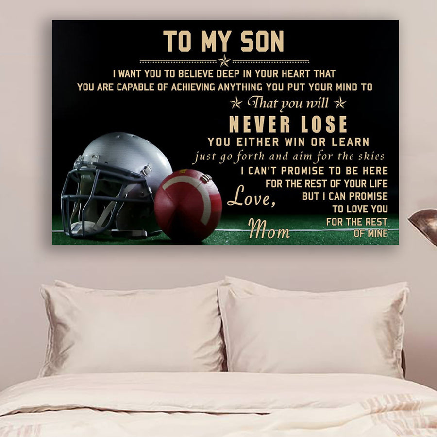 2a4ea027 (cvLHD1) Football Poster - mom to son - never lose