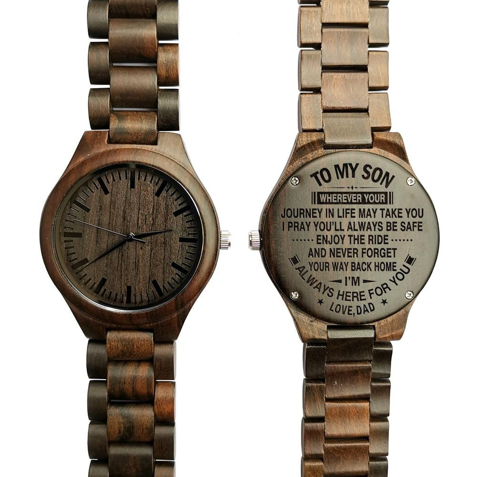 e2a69b3e24f8d ... ENGRAVED WOODEN WATCH - to my son wherever your journey love dad 5 ...