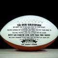 (AF21) LHD AMERICAN FOOTBALL BALL - GRANDPA AND GRANDMA TO GRANDSON - NEVER LOSE