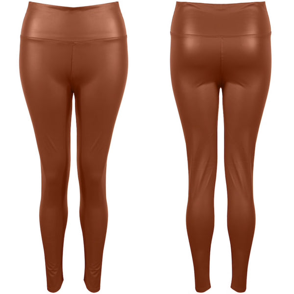 Tan High Waisted Leather Look Leggings