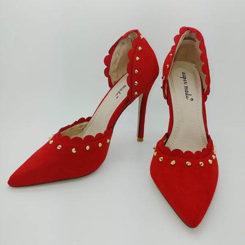 Red Suedette Studded Court Shoe