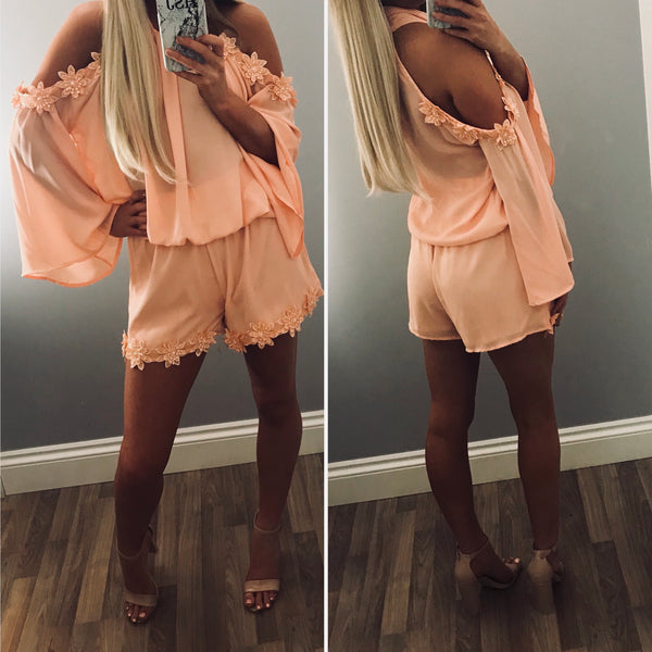 Peach High Neck Cold Shoulder Co-ord