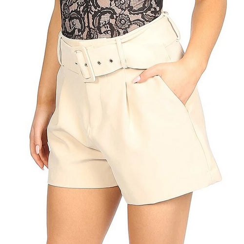 Cream Belted Tailored Shorts