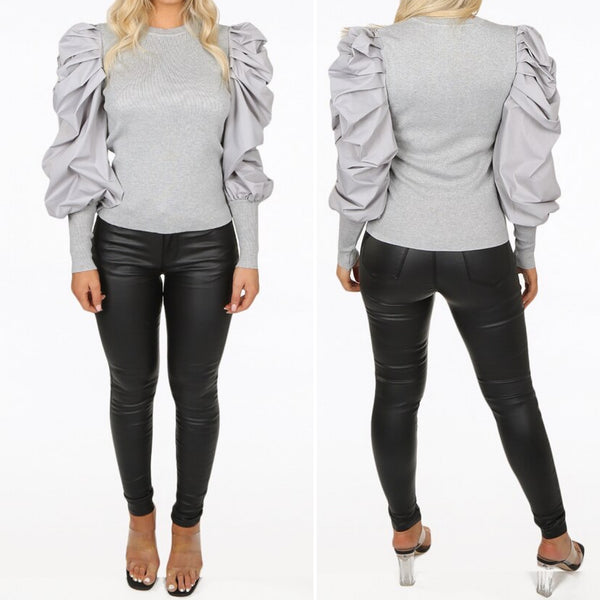 Puff Shirt Sleeved Jumper Grey