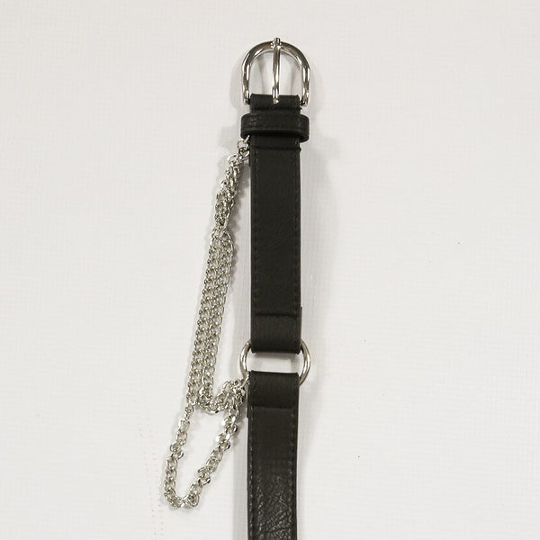 Round Buckle Belt With Hanging Chain