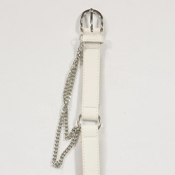 White Round Buckle Belt With Hanging Chain