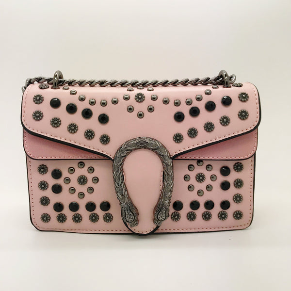 Small Chain Strap Horseshoe Box Bag pink
