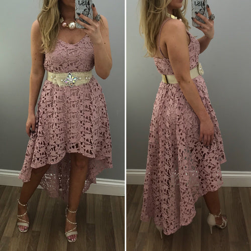 Pink Crochet Hi Lo Dress