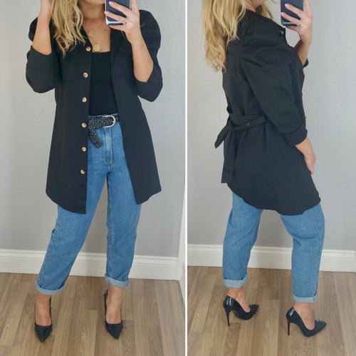 Puff Sleeve Shirt/Jacket Black
