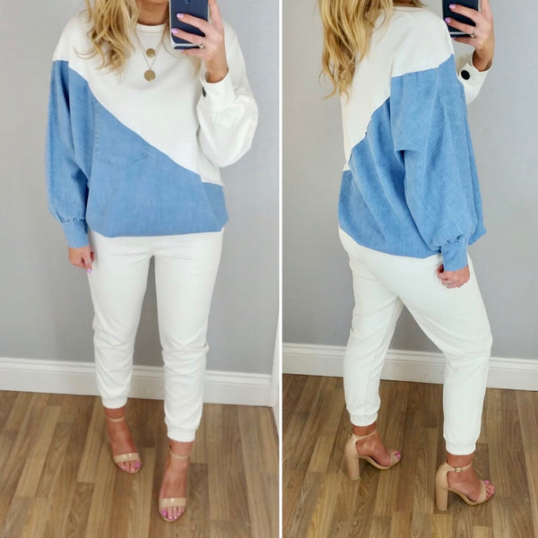 Asymmetric Jersey & Denim Sweatshirt White