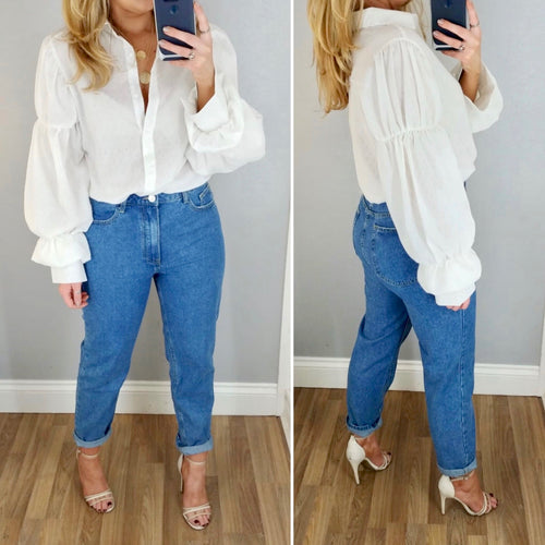 Puff Sleeve Shirt White