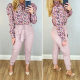 High Waist Leather Look Trouser Pink