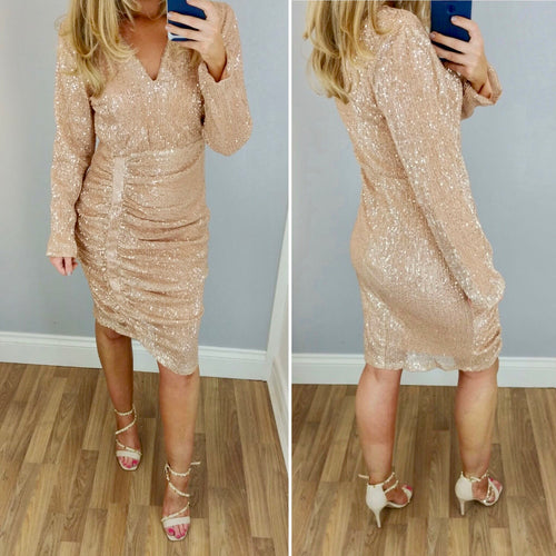 Rose Gold Sequin Rouched Dress