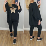 Sequin Star Boxy Top Black