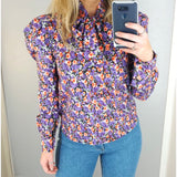 Floral Bow Blouse Purple