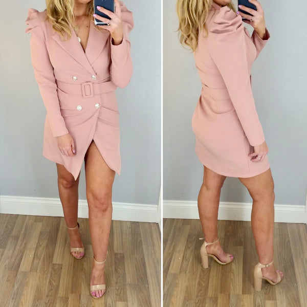 Puff Shoulder Blazer Dress Pink