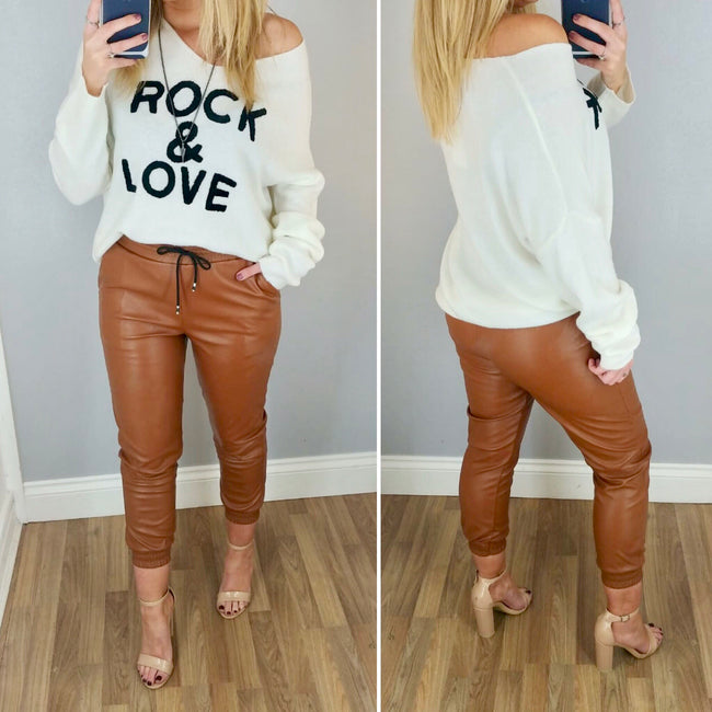 Leather Look Jogger Tan