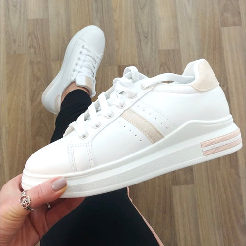 Suede Trim Trainers Nude & White