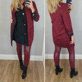 Wine Dotty Lined Suedette Jacket