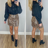 Leopard Leather Look Skirt