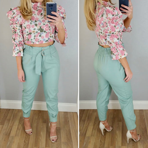High Waist Leather Look Trouser Mint