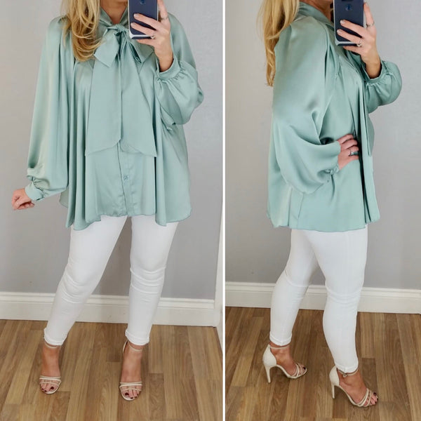 Satin Bow Swing Blouse Mint