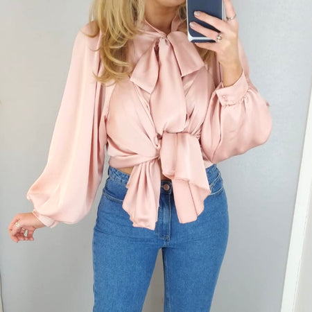 Spotty Tie Neck Top Pink
