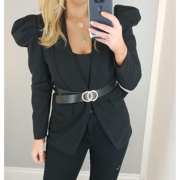 Puff Sleeve Belted Jacket Black