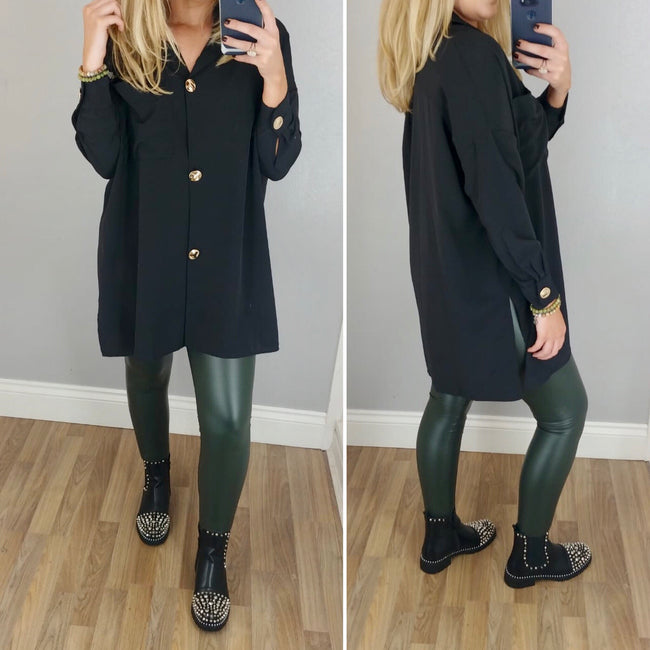 Khaki High Waist Leather Look Leggings
