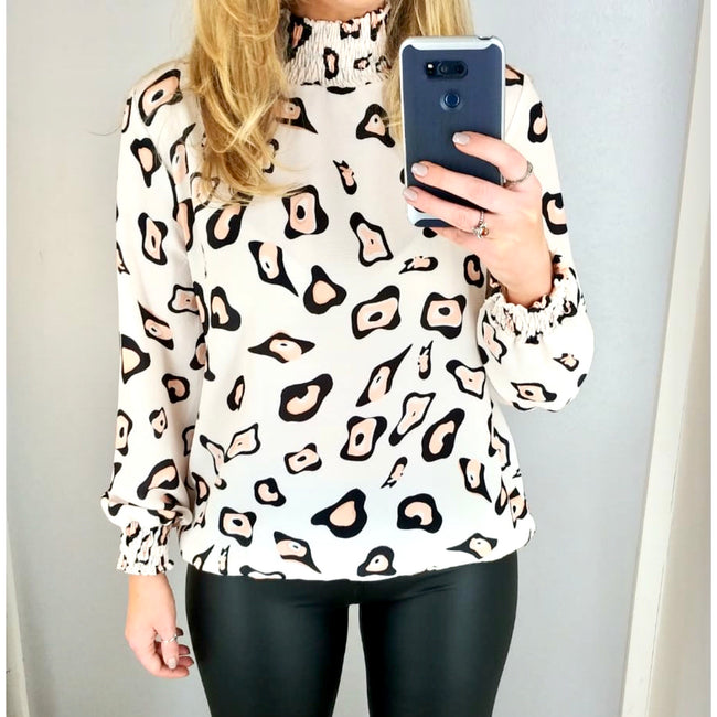 Abstract High Neck Top Cream