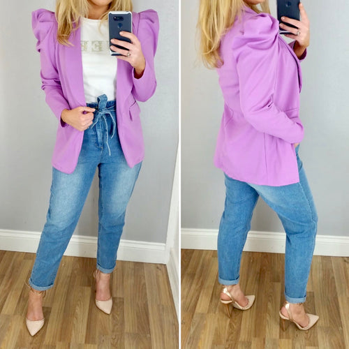 Puff Sleeve Belted Jacket Lilac