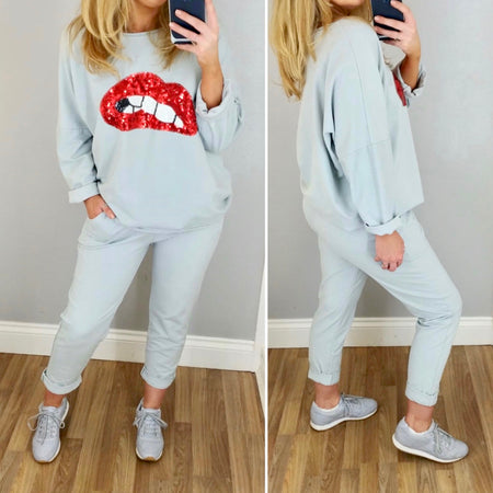 Sequin Star Hooded Top Grey