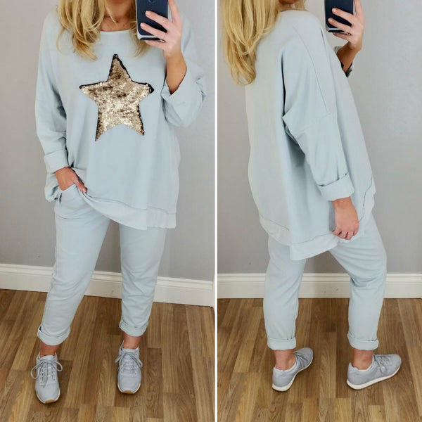 Sequin Star Boxy Top Grey