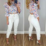 High Waist Leather Look Trouser White