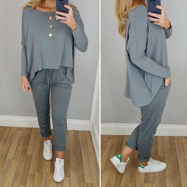 Grey Boxy Hi Lo Top