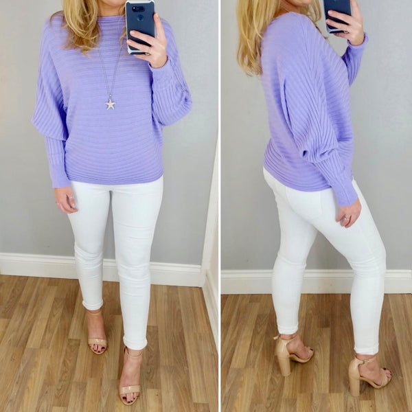Ribbed Batwing Jumper Lilac