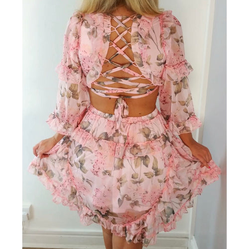Cut Out Floral Frill Dress Pink