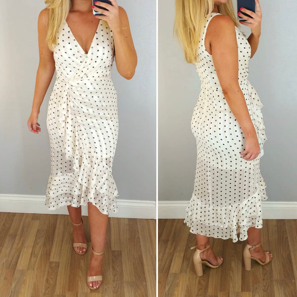 Dotty Ruffle Midi Dress White