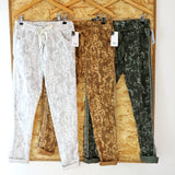 Metallic Stripe Camo Stretch Pant (Assorted Colours)