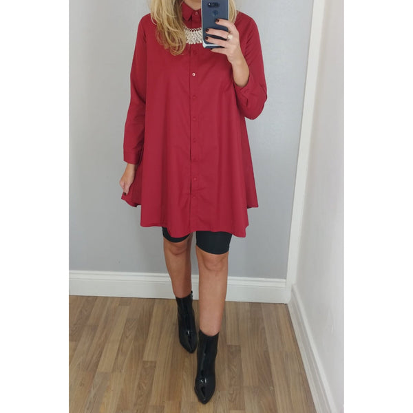 Wine A-Line Shirt Dress
