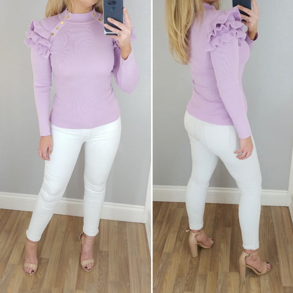 Ruffle Shoulder Knit Lilac