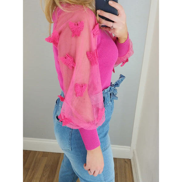 Butterfly Sleeve Jumper Fuchsia