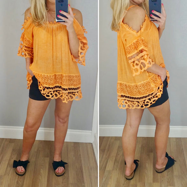 Cold Shoulder Crochet Top (Assorted Colours)