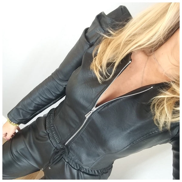 Puff Sleeve Leather Look Jacket