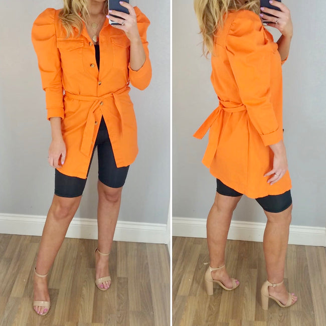 Puff Sleeve Shirt/Jacket Orange